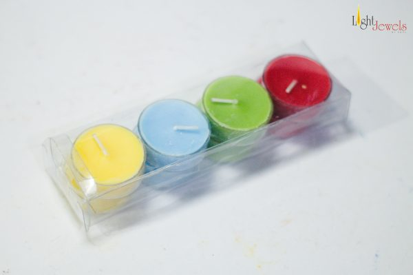 LJC Coloured Acrylic T lites Candles (Paraffin Wax Scented) - Set of 8